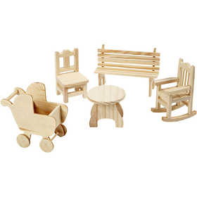 Bild von Mini-Möbel, H 5,8-10,5 cm, Sperrholz, 50Stck. [HOB-56473]